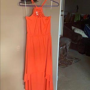 High low orange dress!